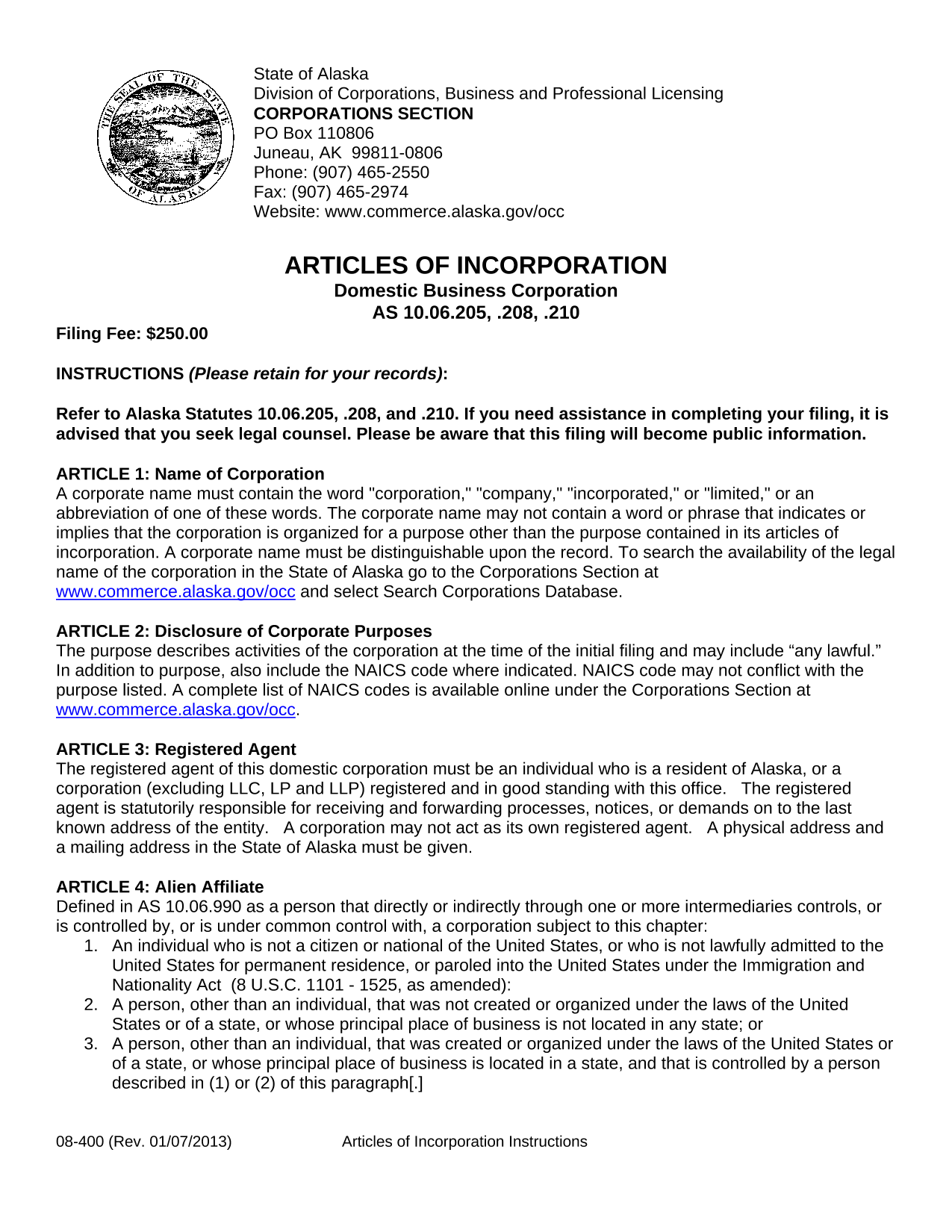 Alaska Articles of Incorporation
