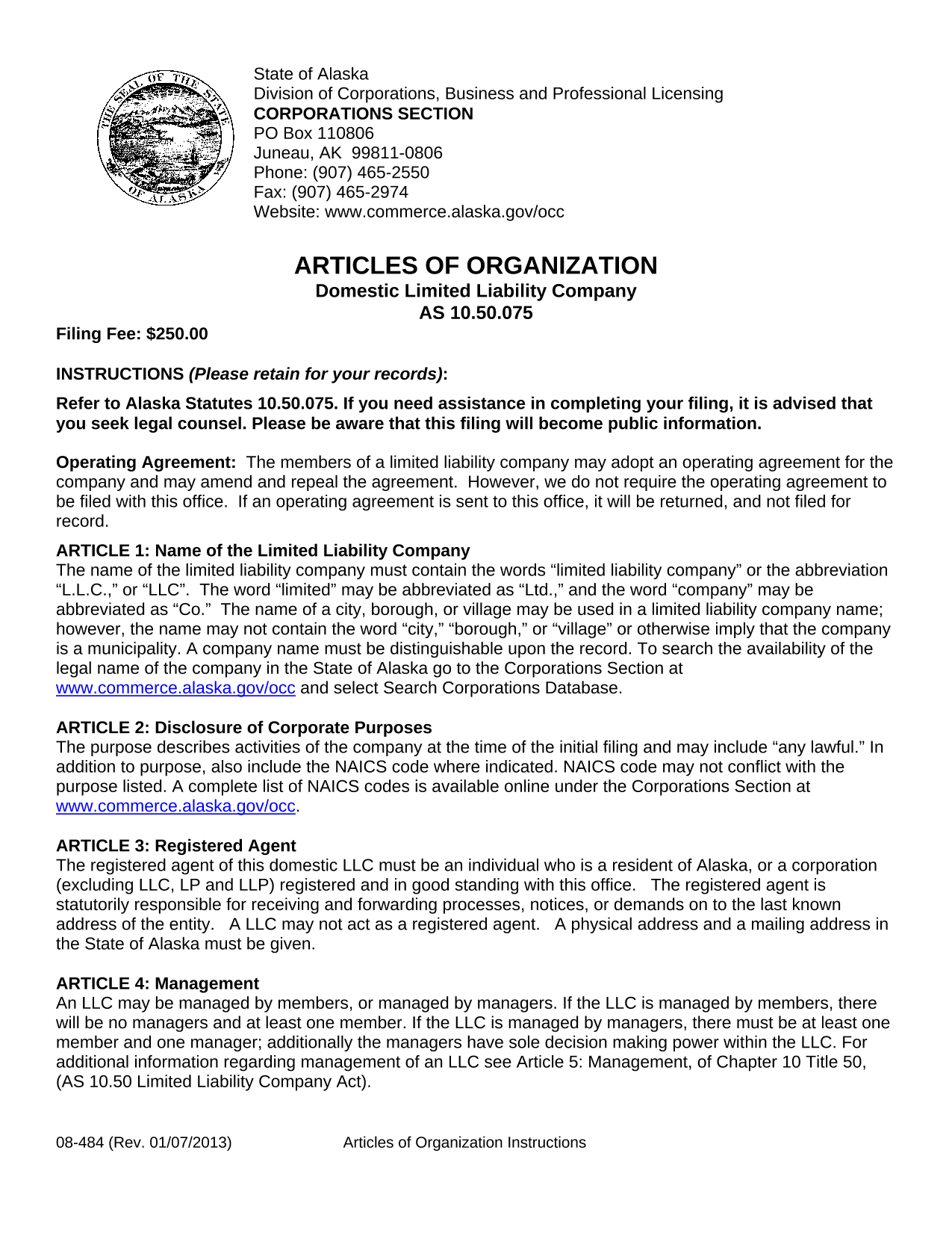 Alaska LLC Articles of Organization