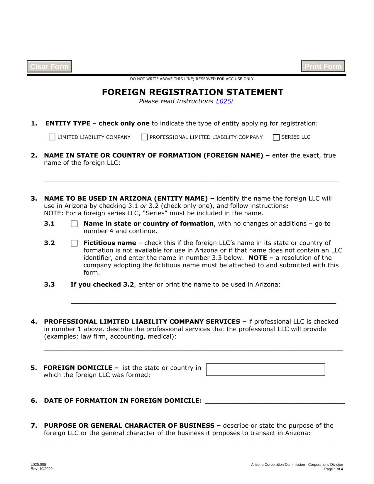 arizona-foreign-llc-registration-statement