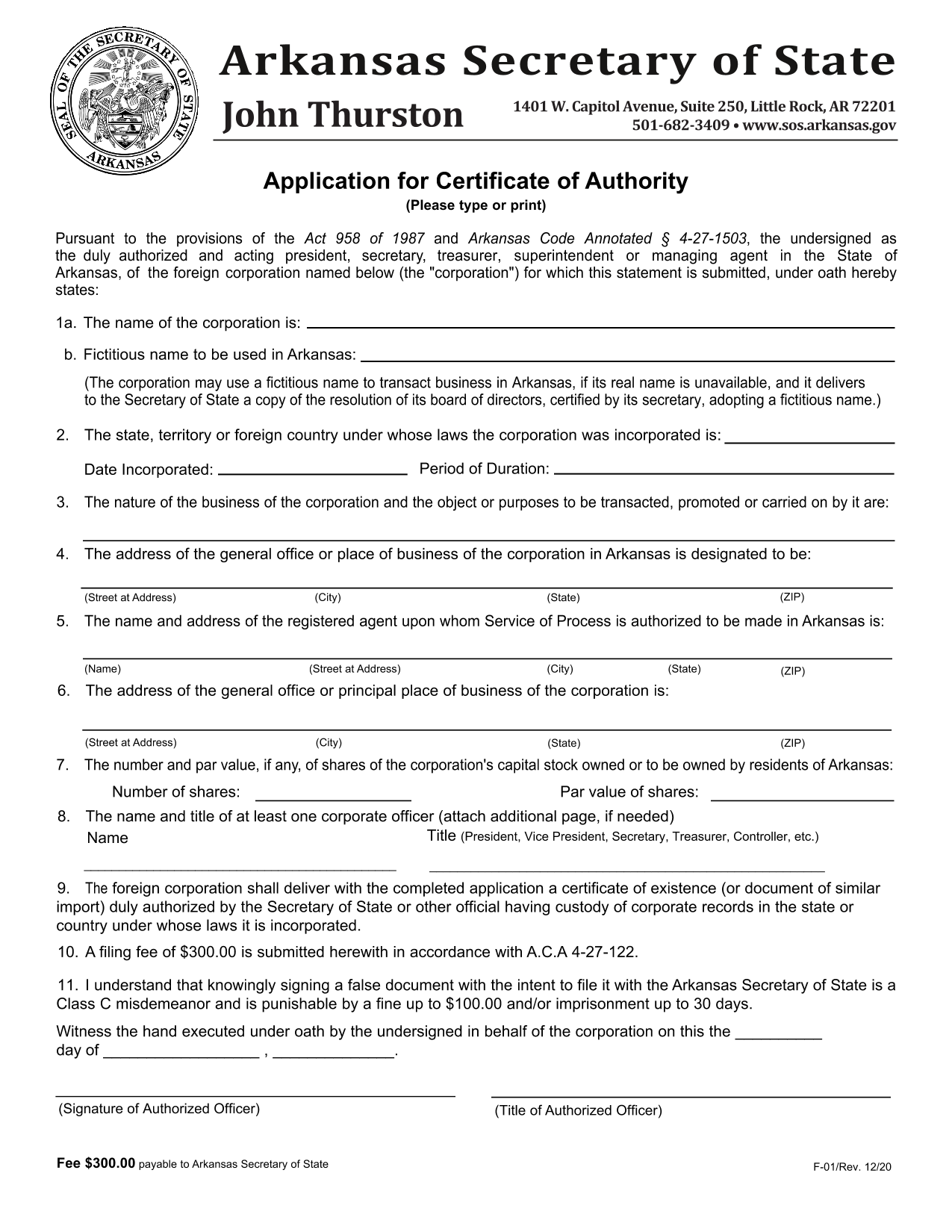 arkansas-foreign-corporation-application-for-certificate-of-authority