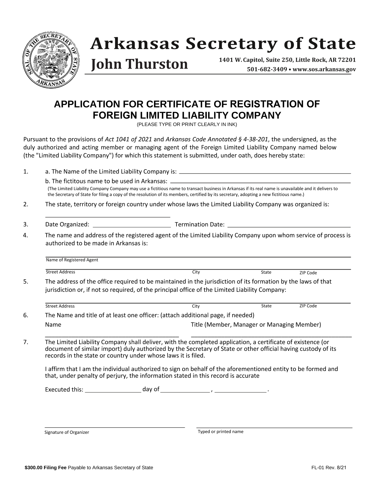 arkansas-foreign-llc-application-for-certificate-of-registration