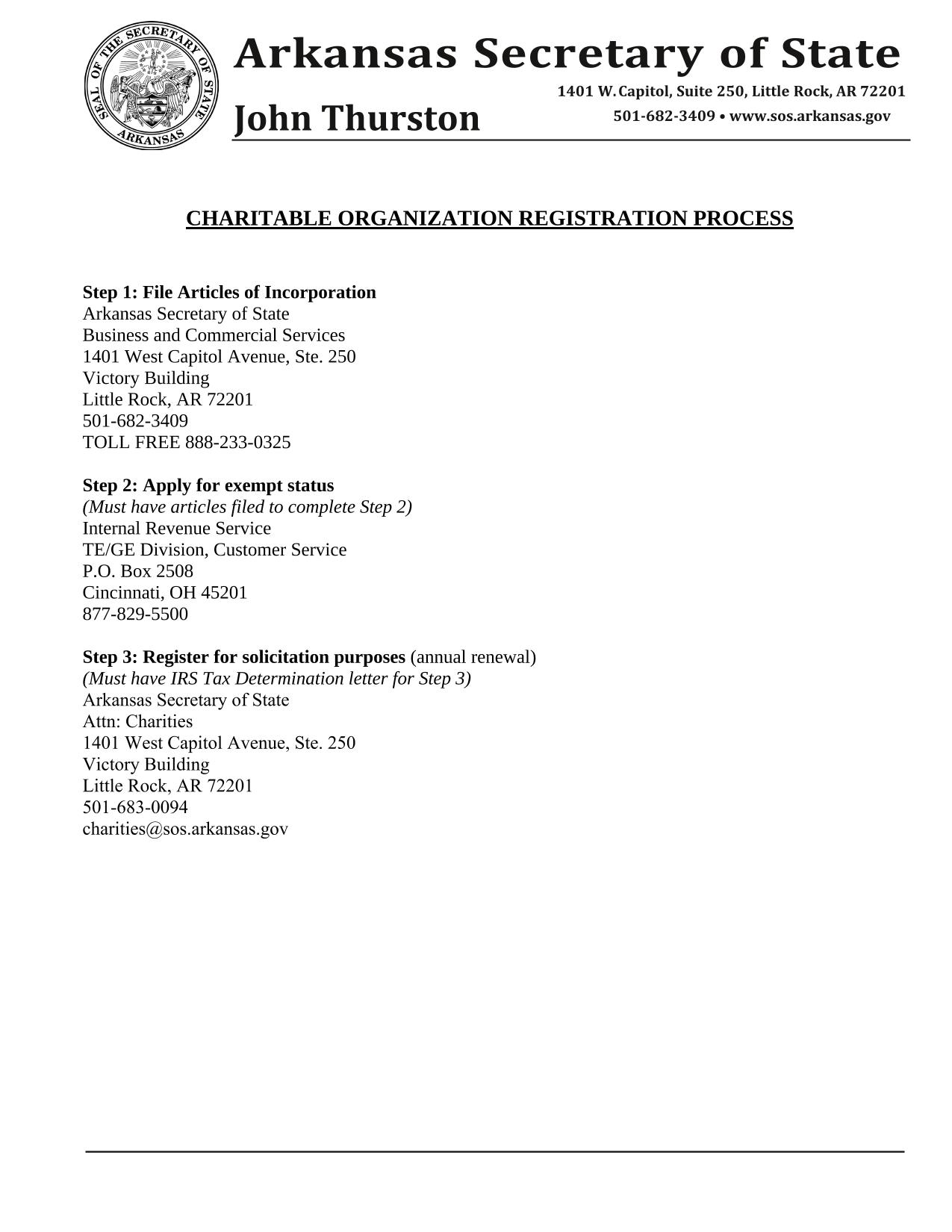 Arkansas Articles of Incorporation - Domestic Nonprofit