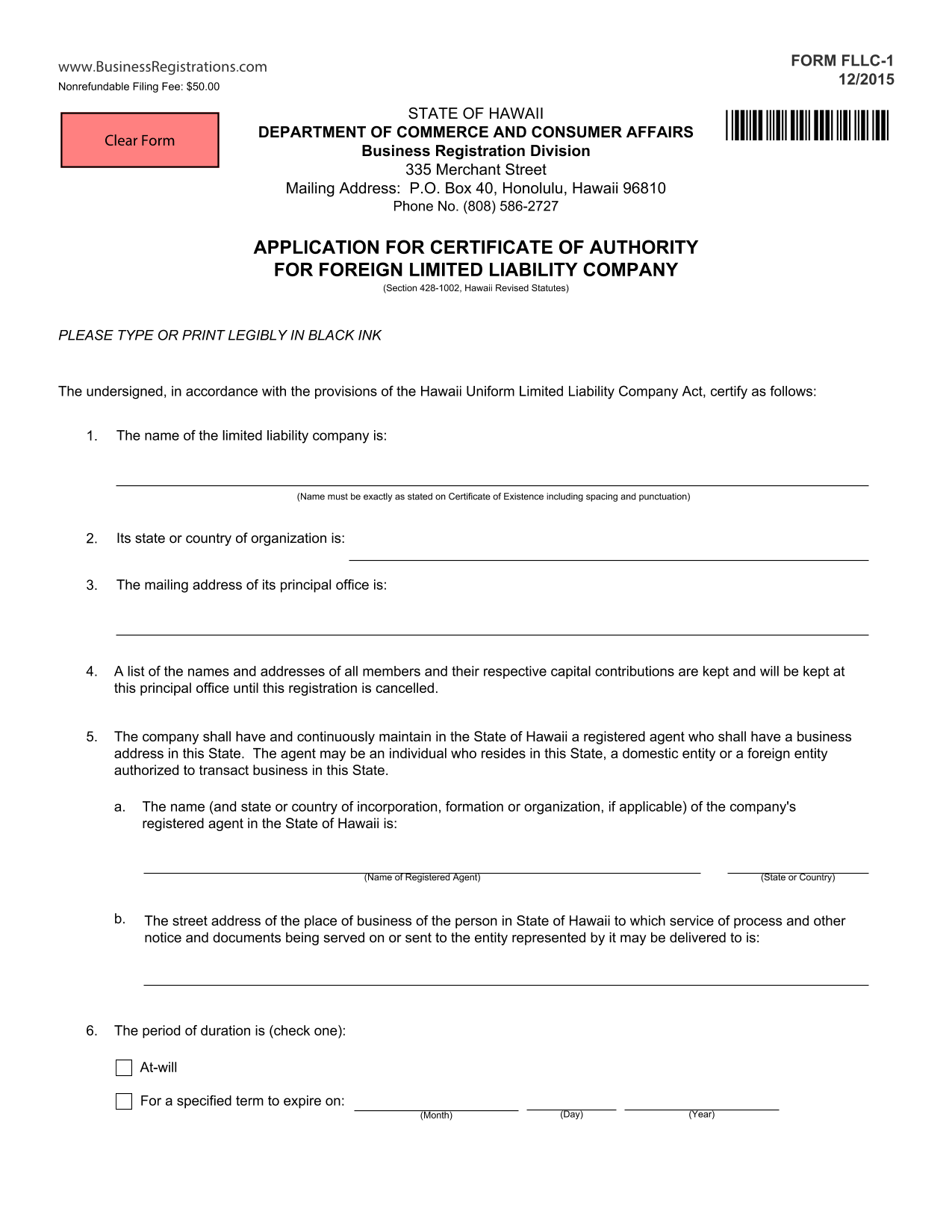 hawaii-foreign-llc-application-for-certificate-of-authority