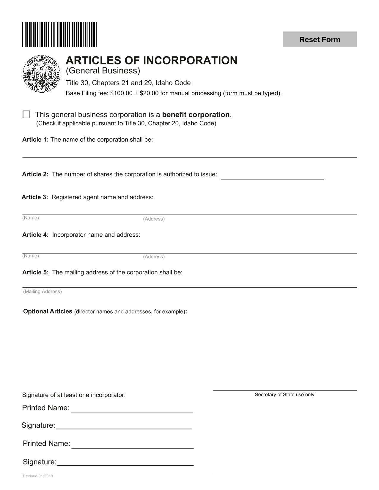 Idaho Articles of Incorporation