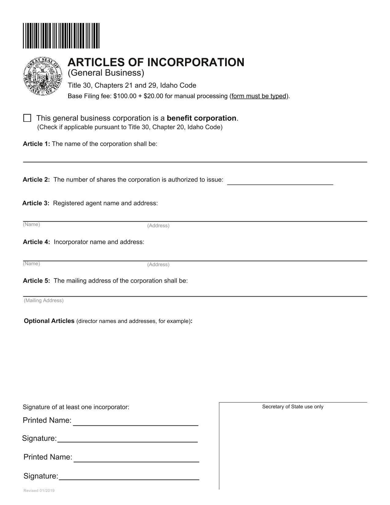 Idaho Articles of Incorporation