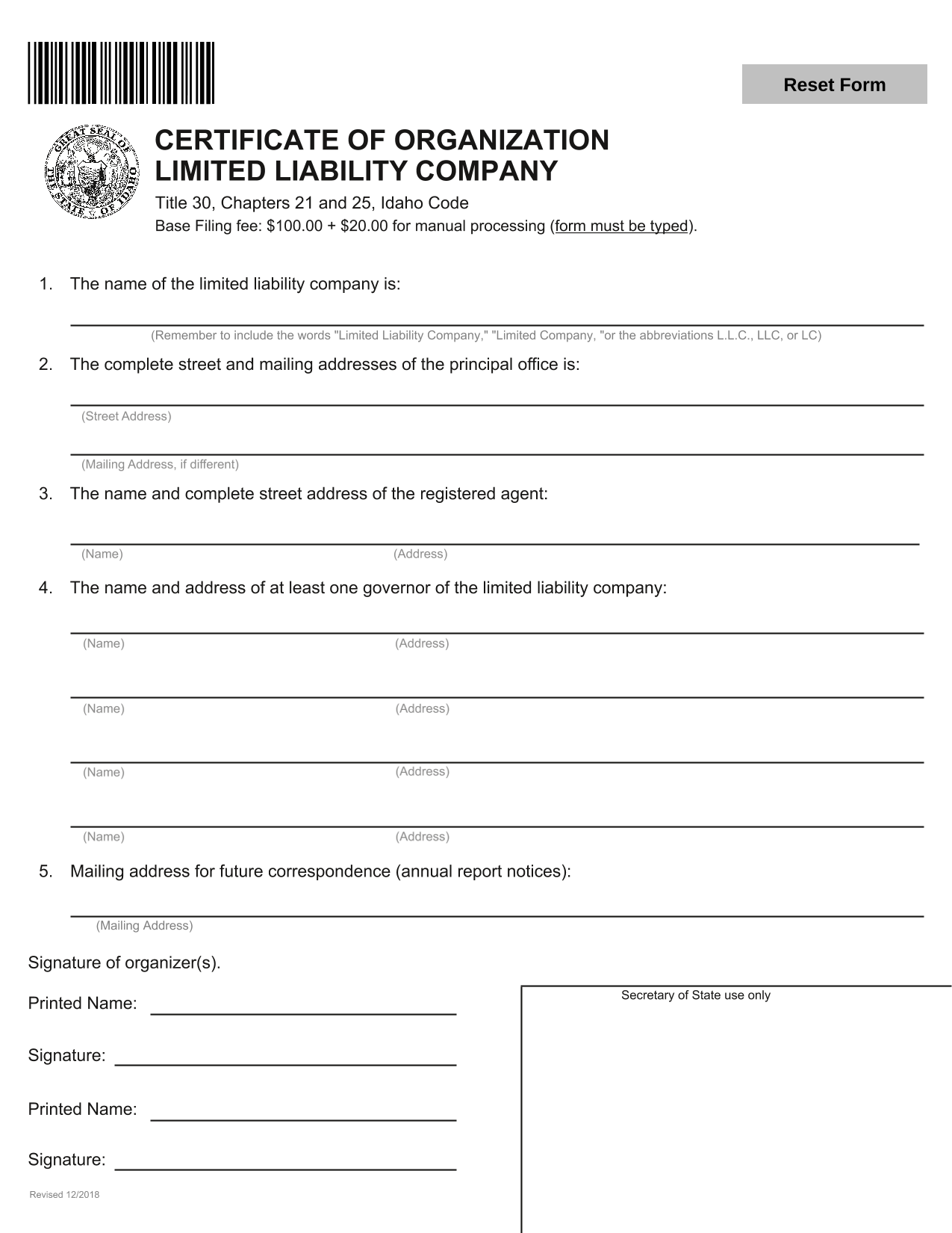 Idaho LLC Certificate of Organization