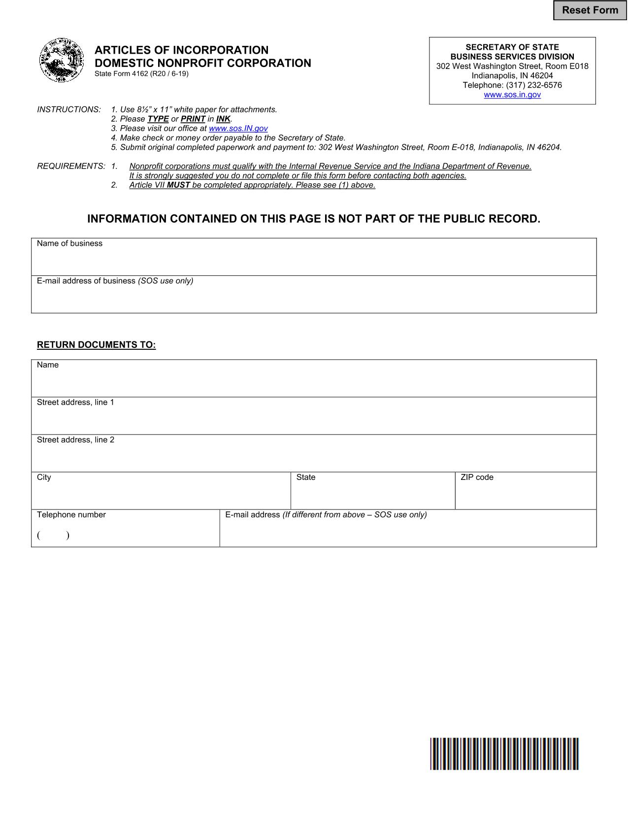 Indiana Articles of Incorporation Domestic Nonprofit Corporation