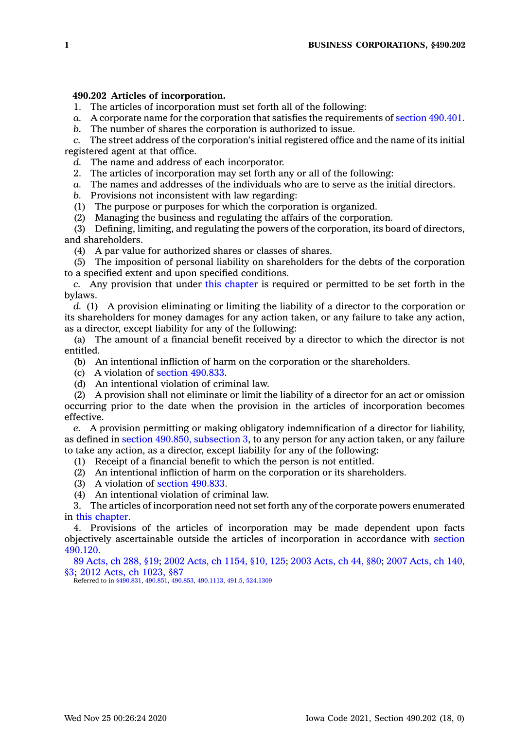 Iowa Articles of Incorporation