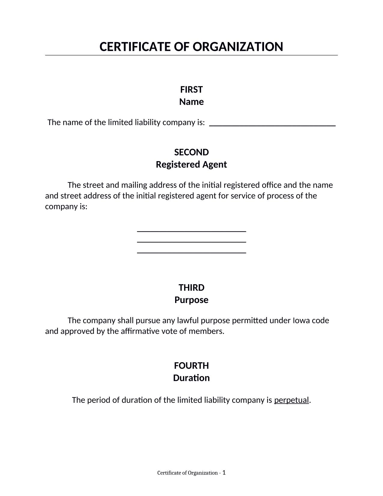 Iowa LLC Certificate of Organization