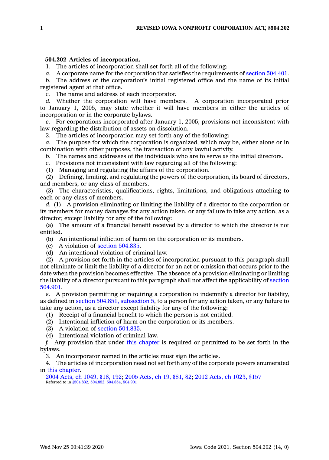 Revised Iowa Nonprofit Corporation Act, 504.202, Articles of Incorporation