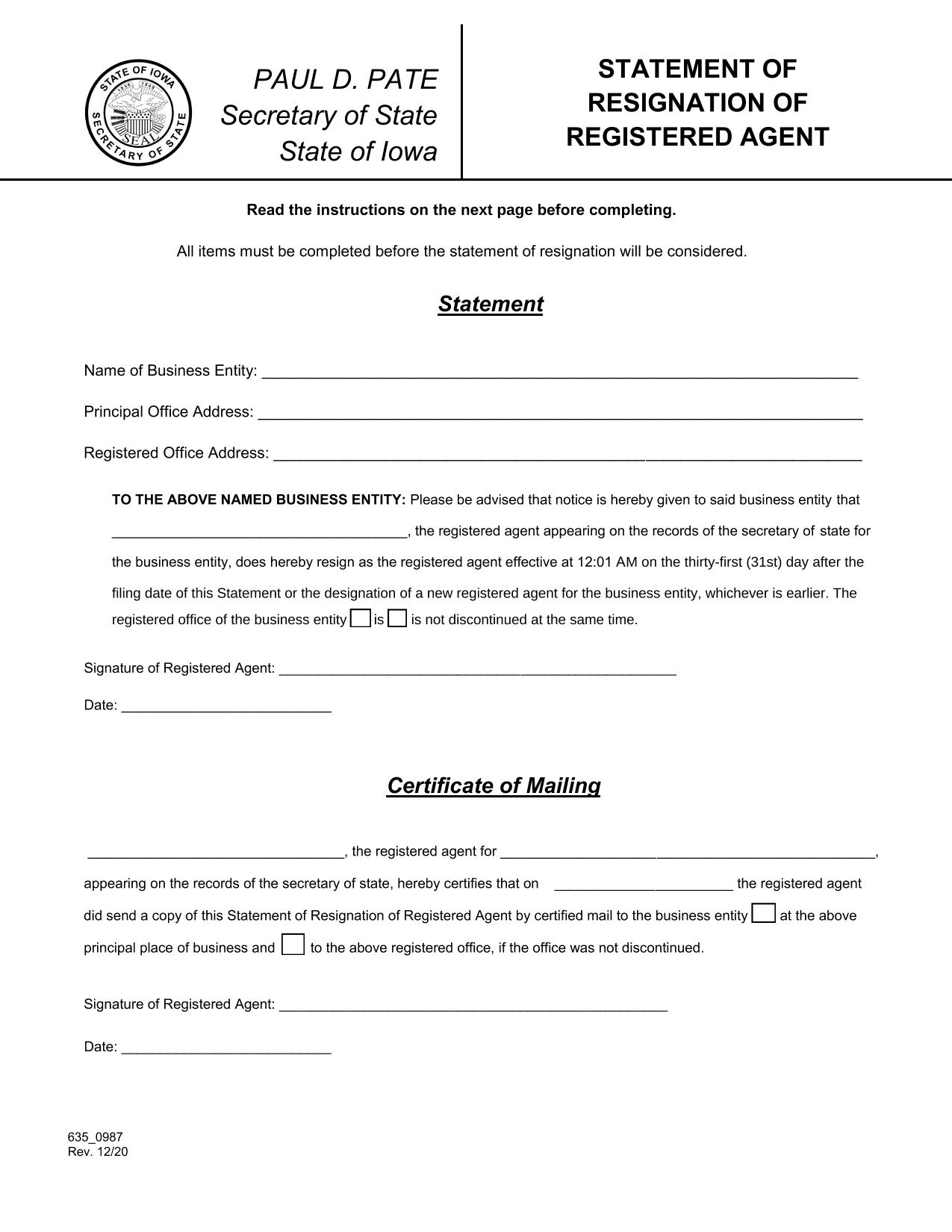 iowa-statement-of-resignation-of-registered-agent