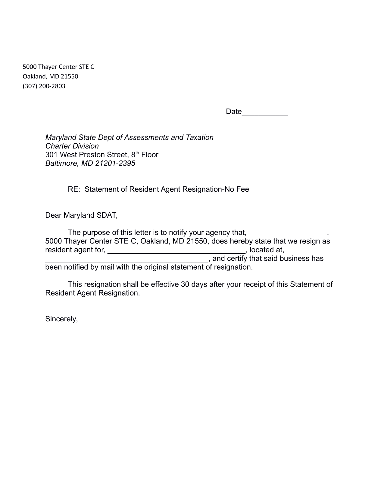 maryland-statement-of-resignation-of-registered-agent