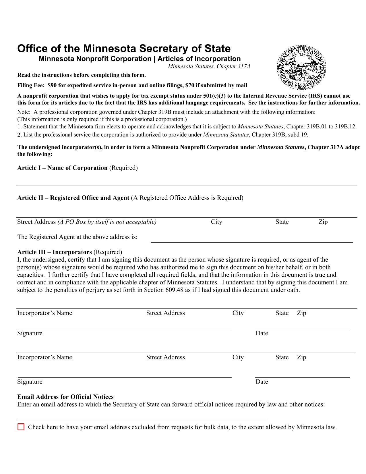 Minnesota Nonprofit Corporation Articles of Incorporation