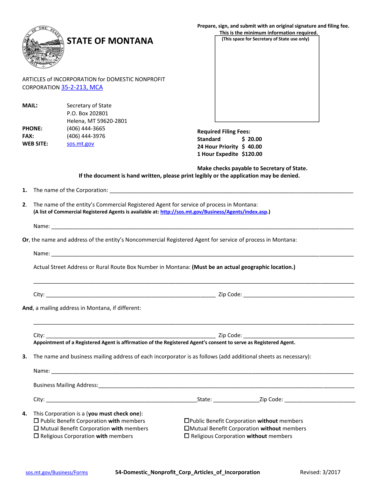Montana Articles of Incorporation for Domestic Nonprofit Corporation