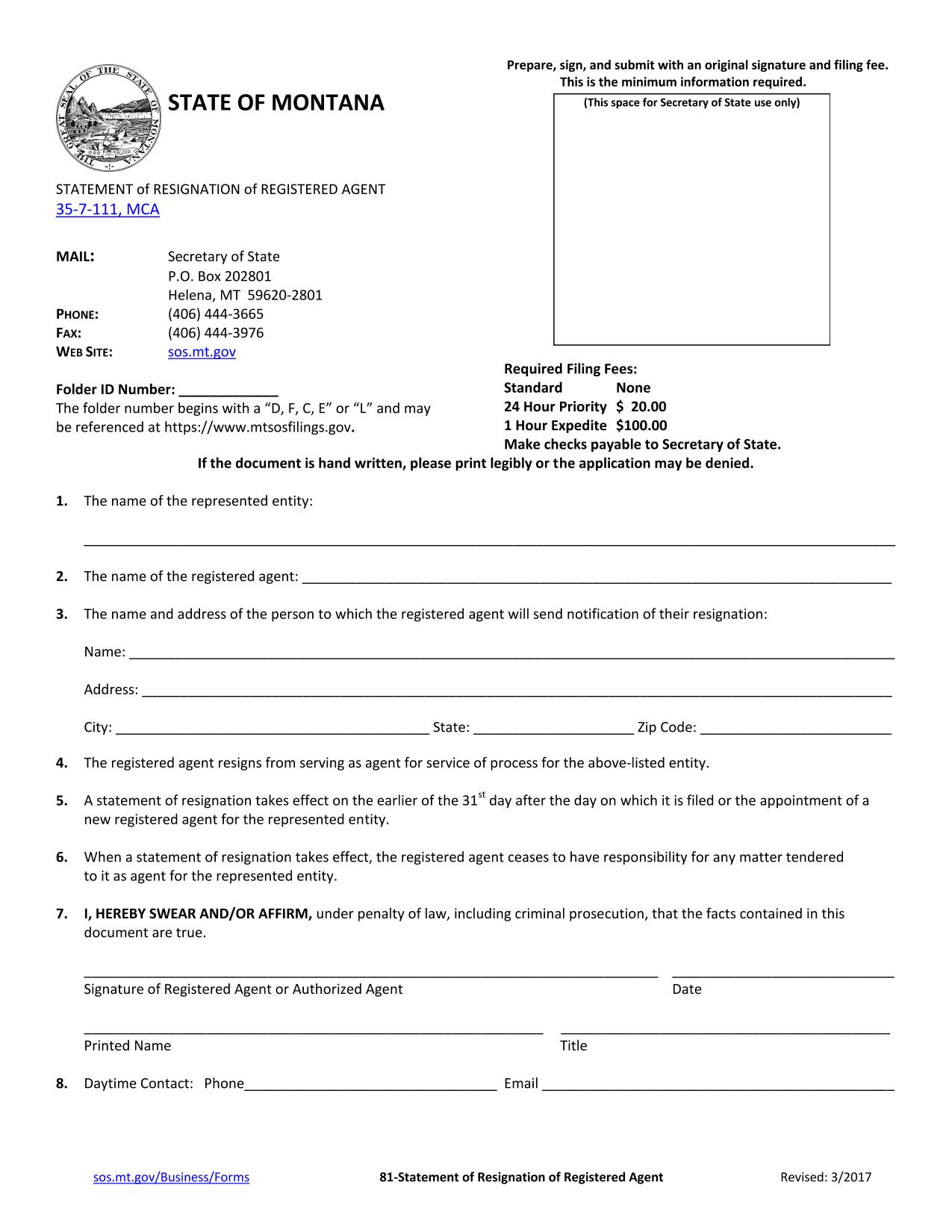 montana-statement-of-resignation-of-registered-agent