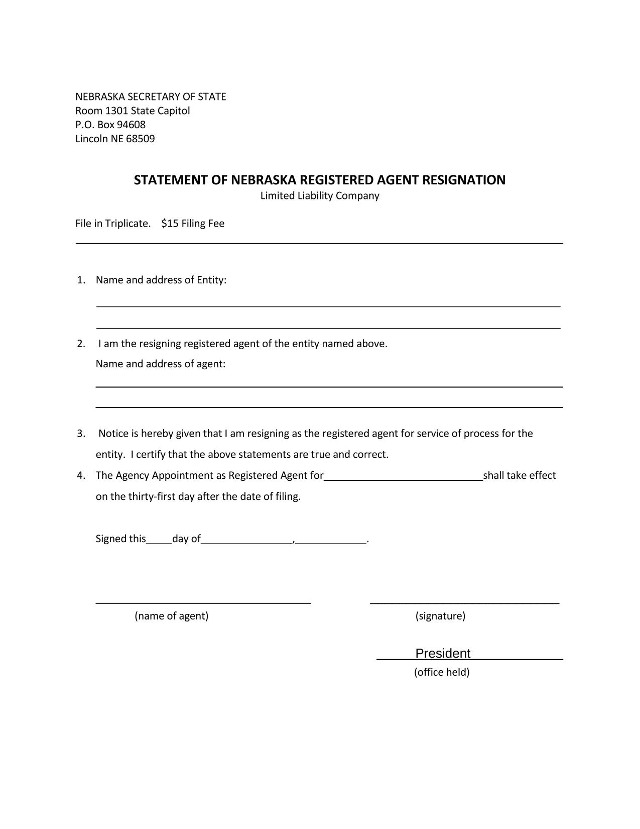 nebraska-llc-statement-of-resignation-of-registered-agent