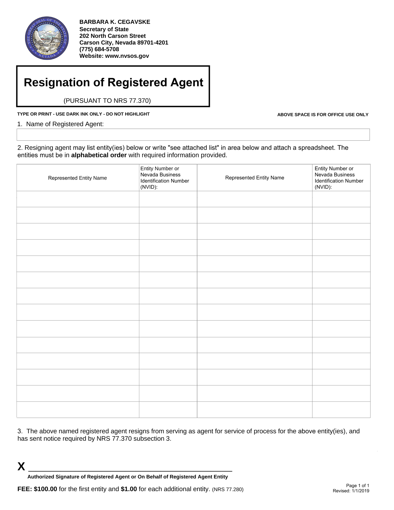 How To Resign As Registered Agent For Nevada Llc Or Corporation