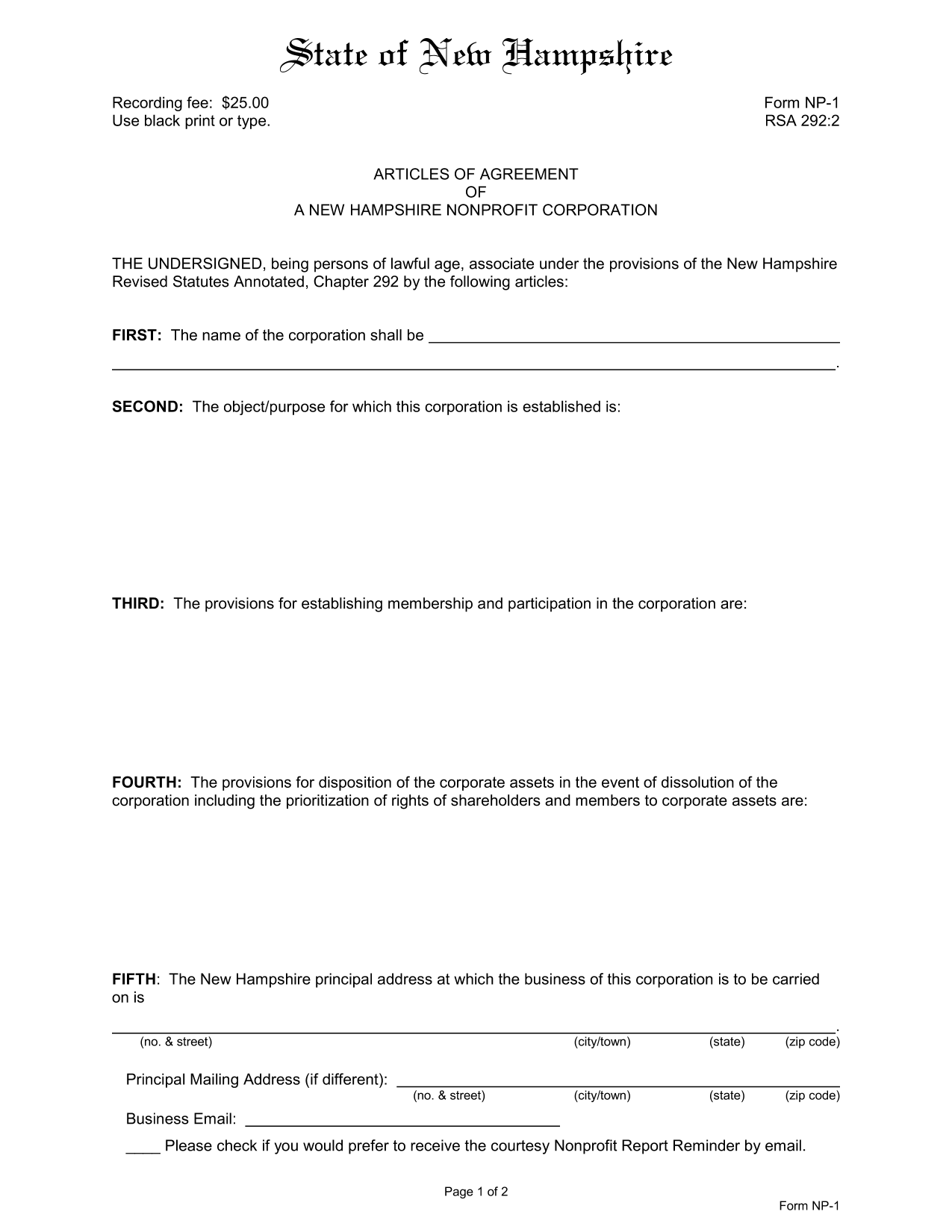 Articles of Agreement of a New Hampshire Nonprofit Corporation