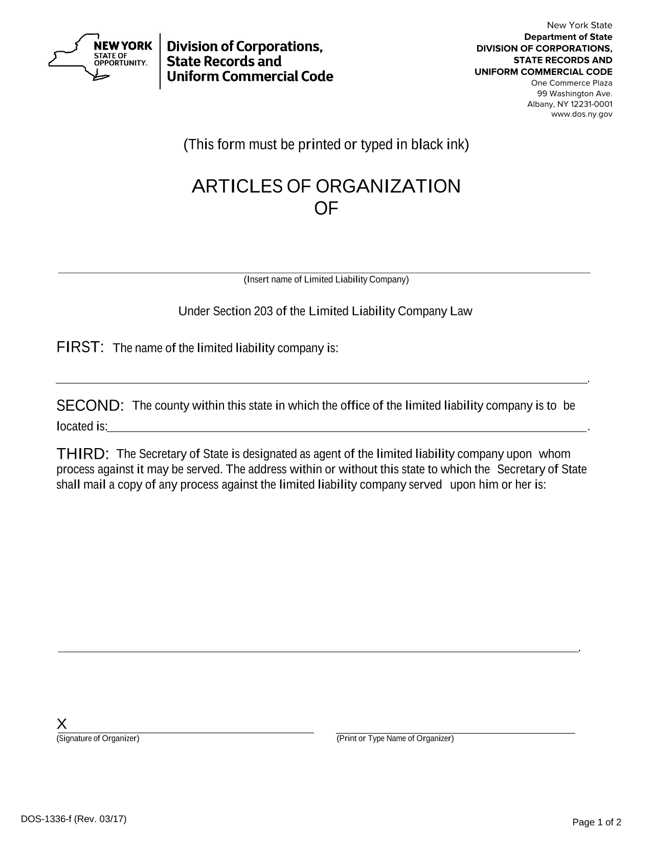 New York LLC Articles of Organization