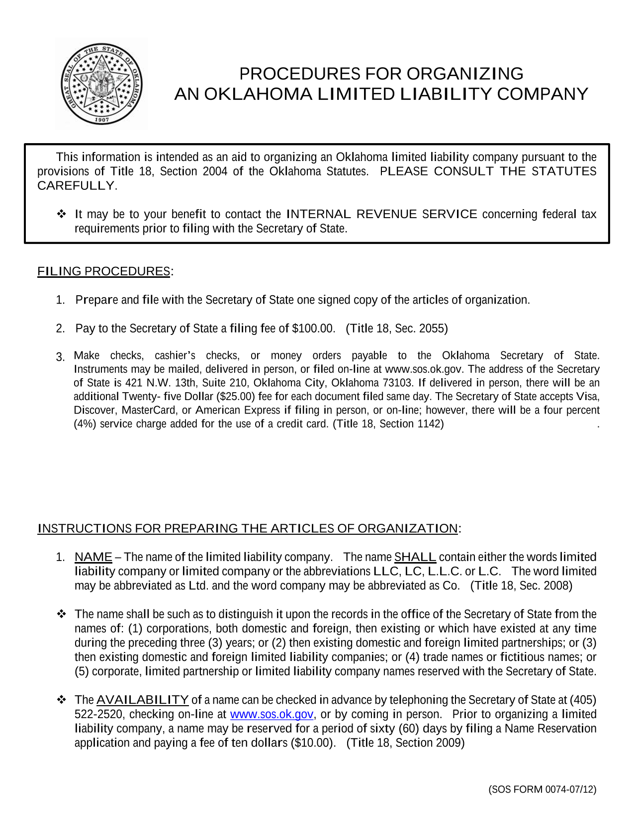 Oklahoma LLC Articles of Organization