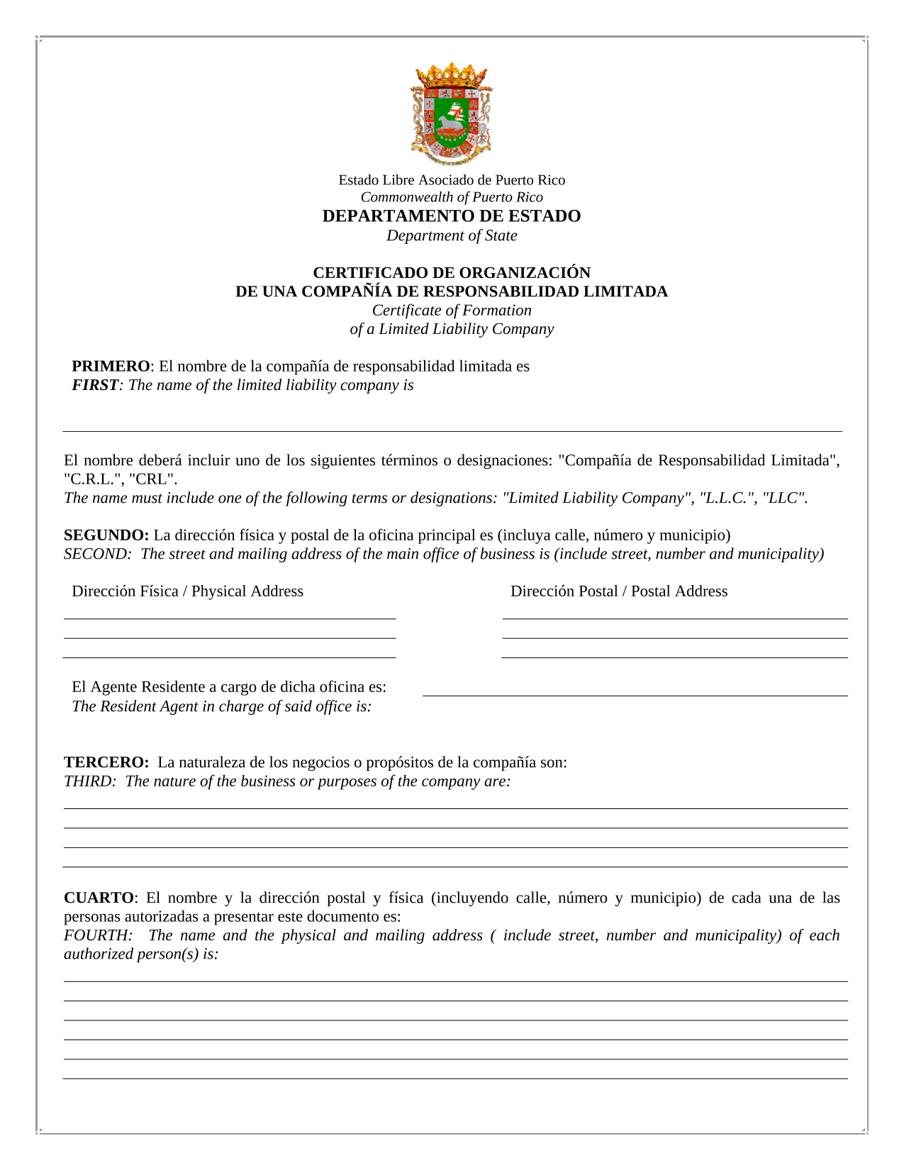 Puerto Rico LLC Certificate of Formation