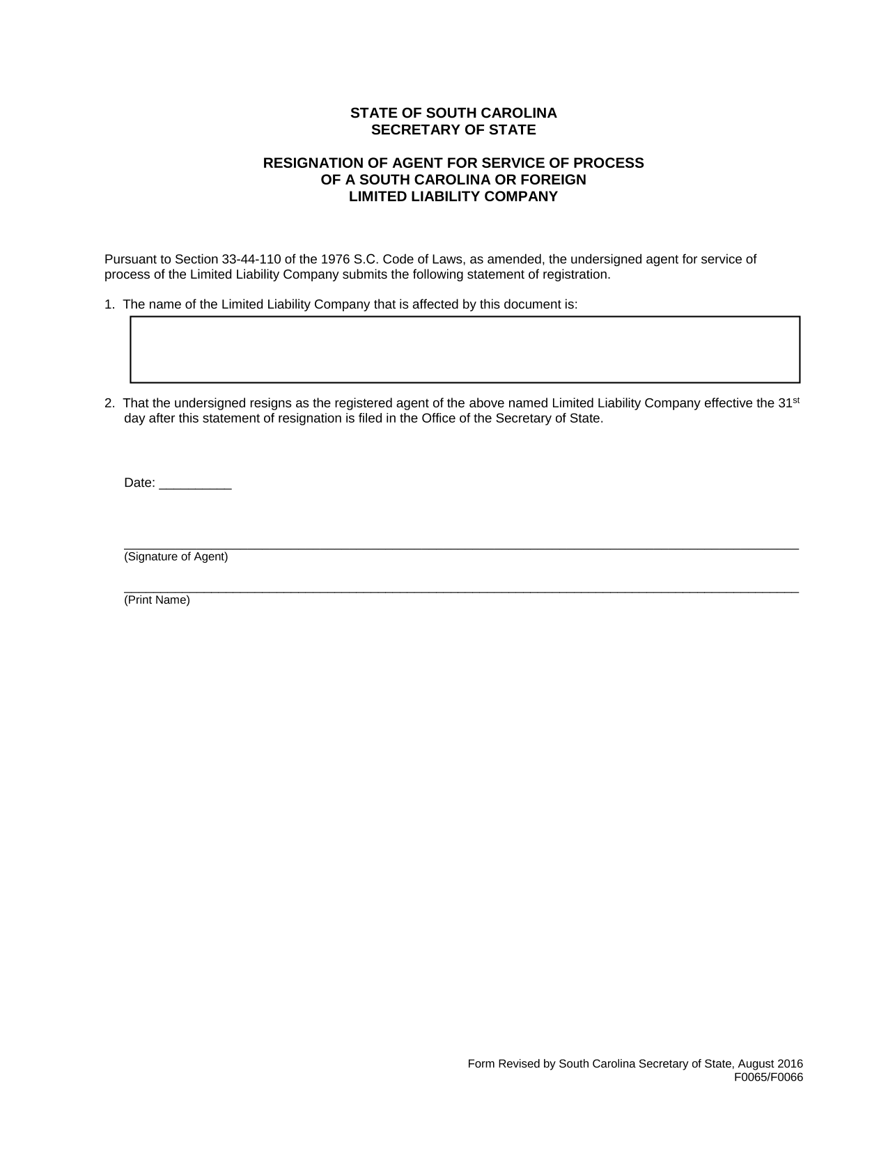 south-carolina-resignation-of-registered-agent-and-discontinuance-of-registered-office