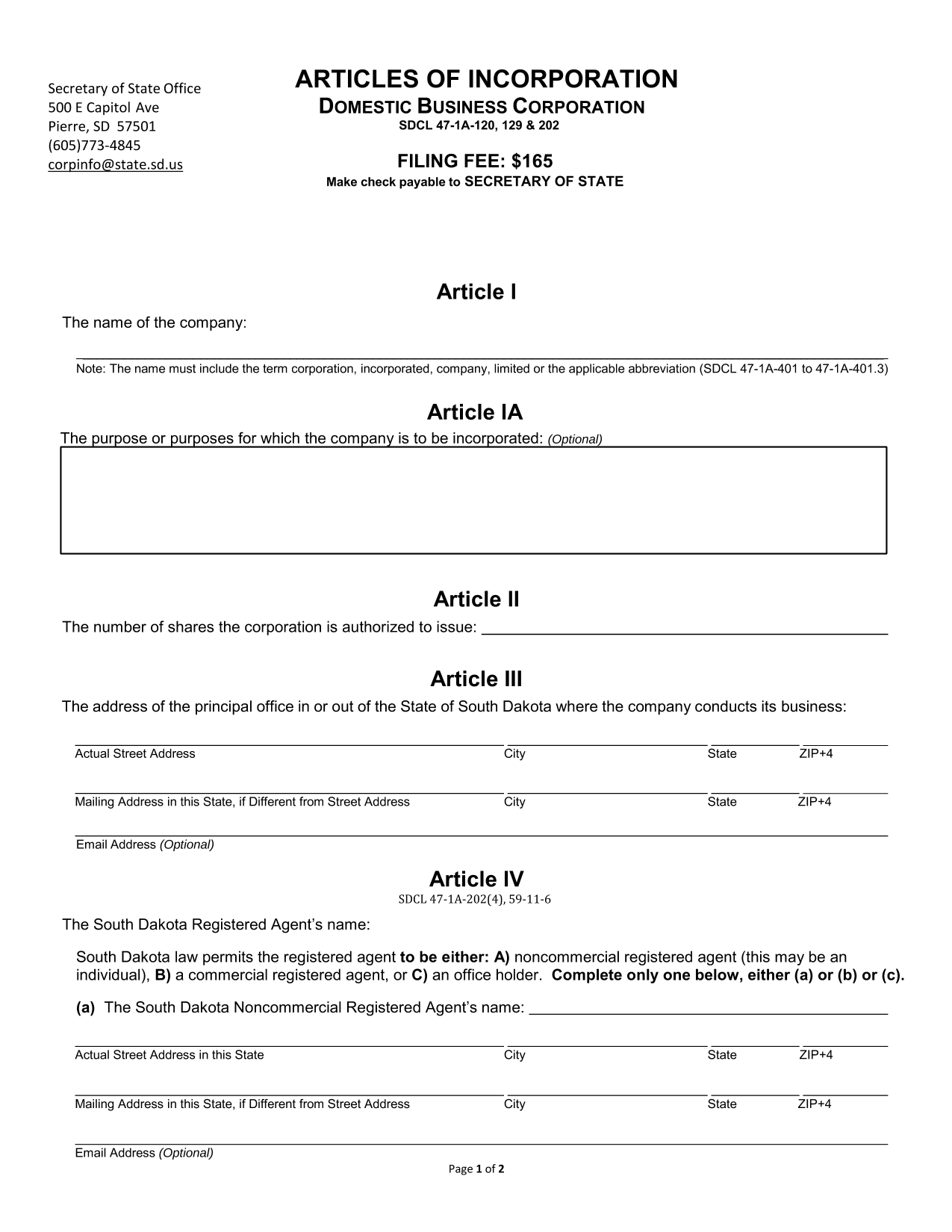 South Dakota Articles of Incorporation