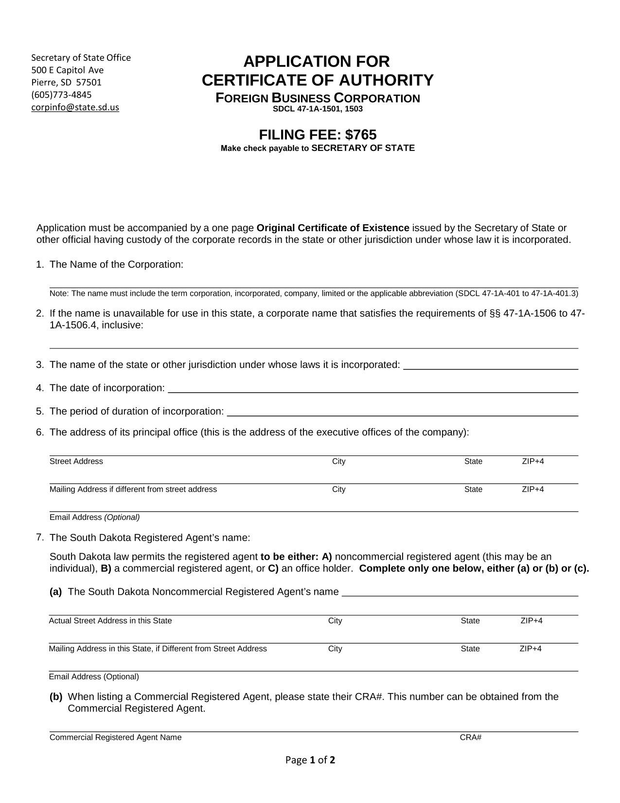 south-dakota-foreign-corporation-application-for-certificate-of-authority