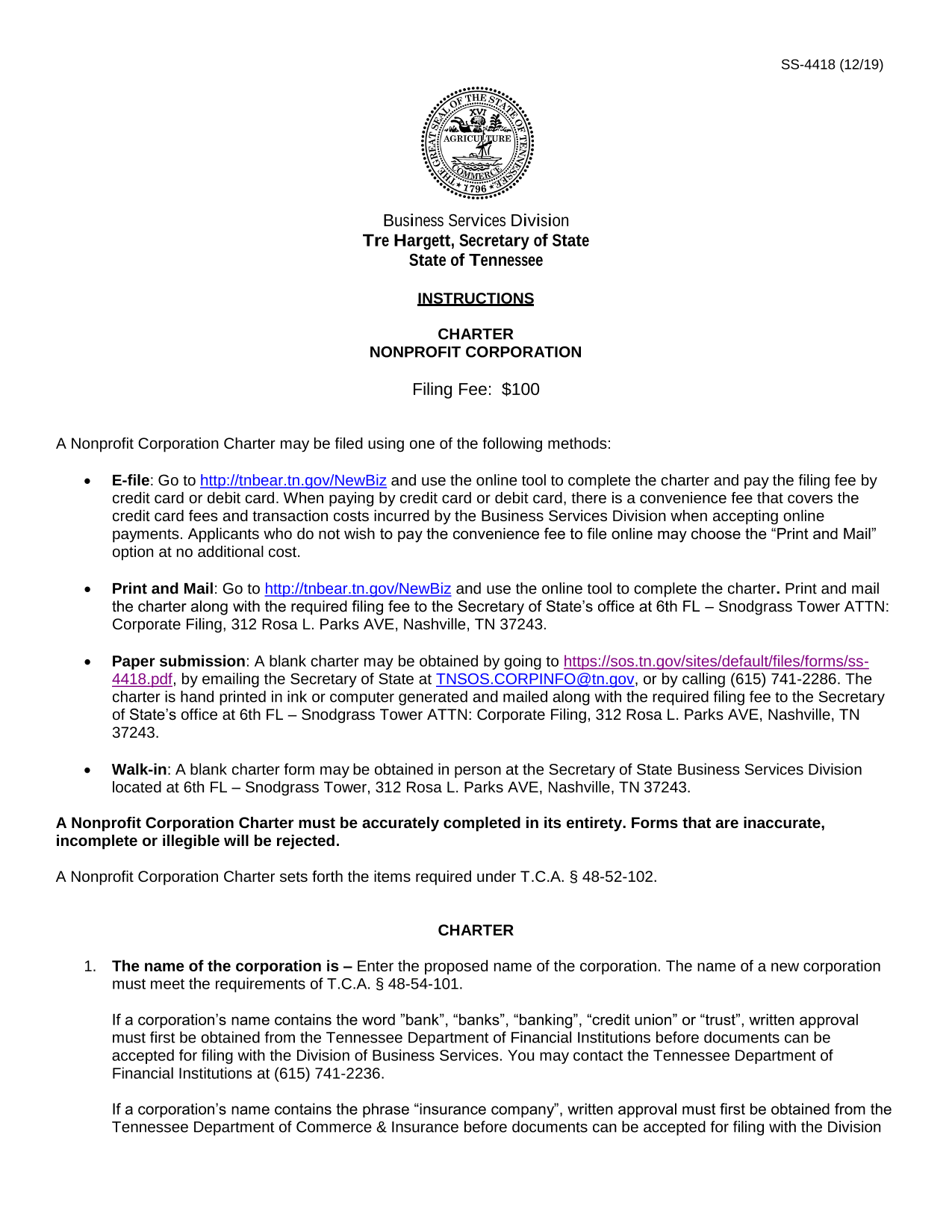 Tennessee Nonprofit Corporation Charter