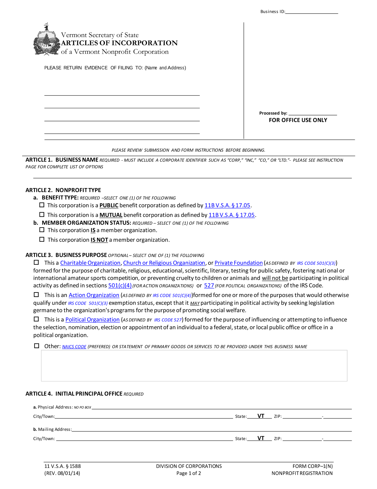 Articles of Incorporation of a Vermont Nonprofit Corporation