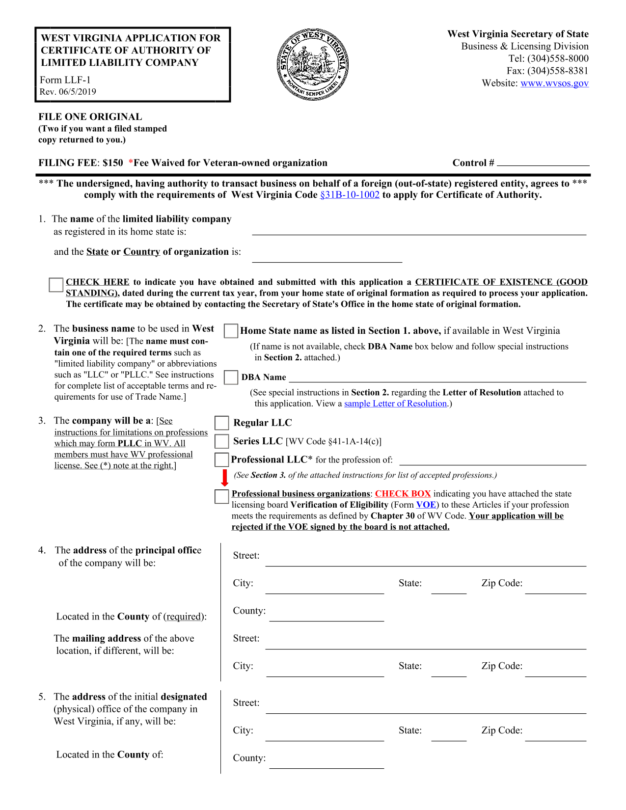 west-virginia-foreign-llc-application-for-certificate-of-authority