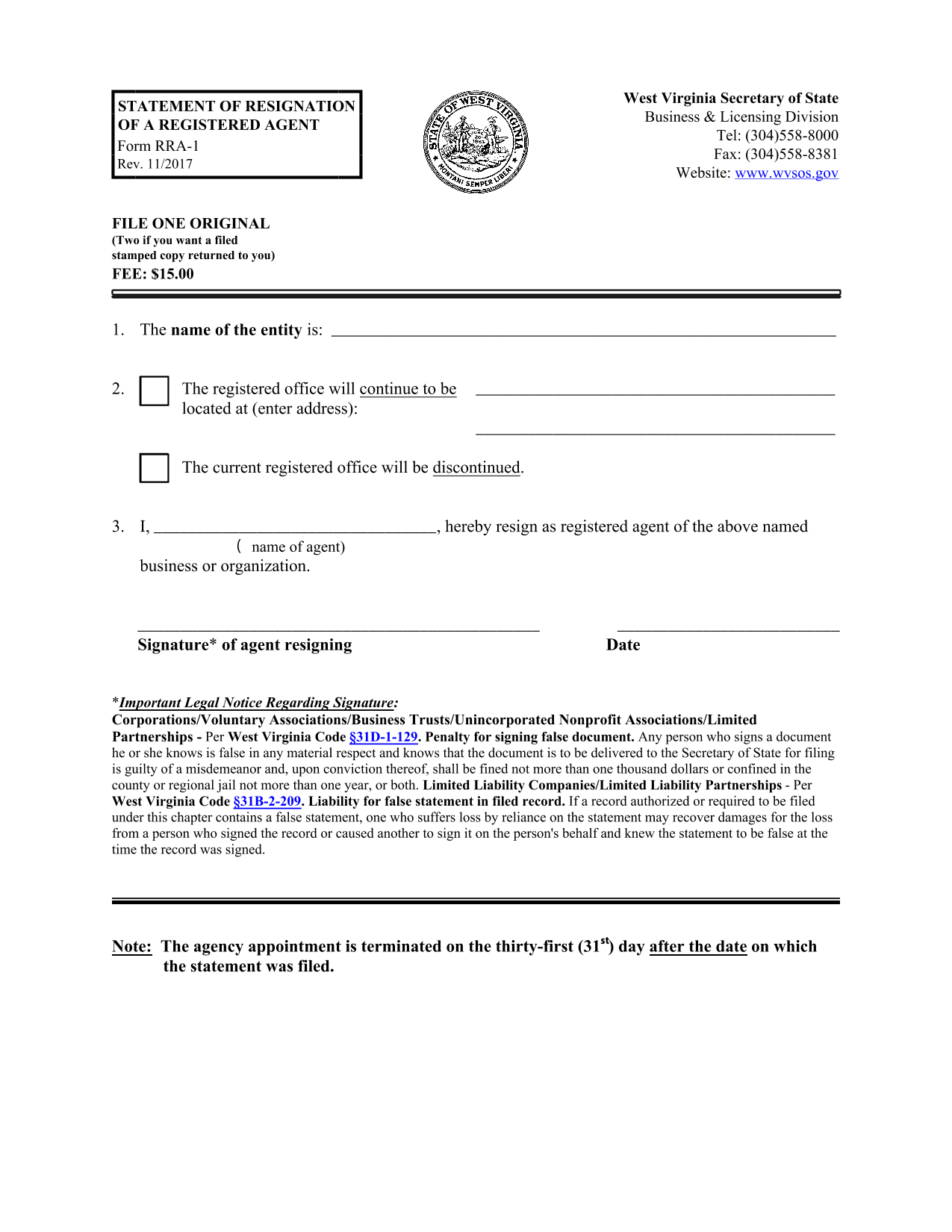 west-virginia-statement-of-resignation-of-a-registered-agent