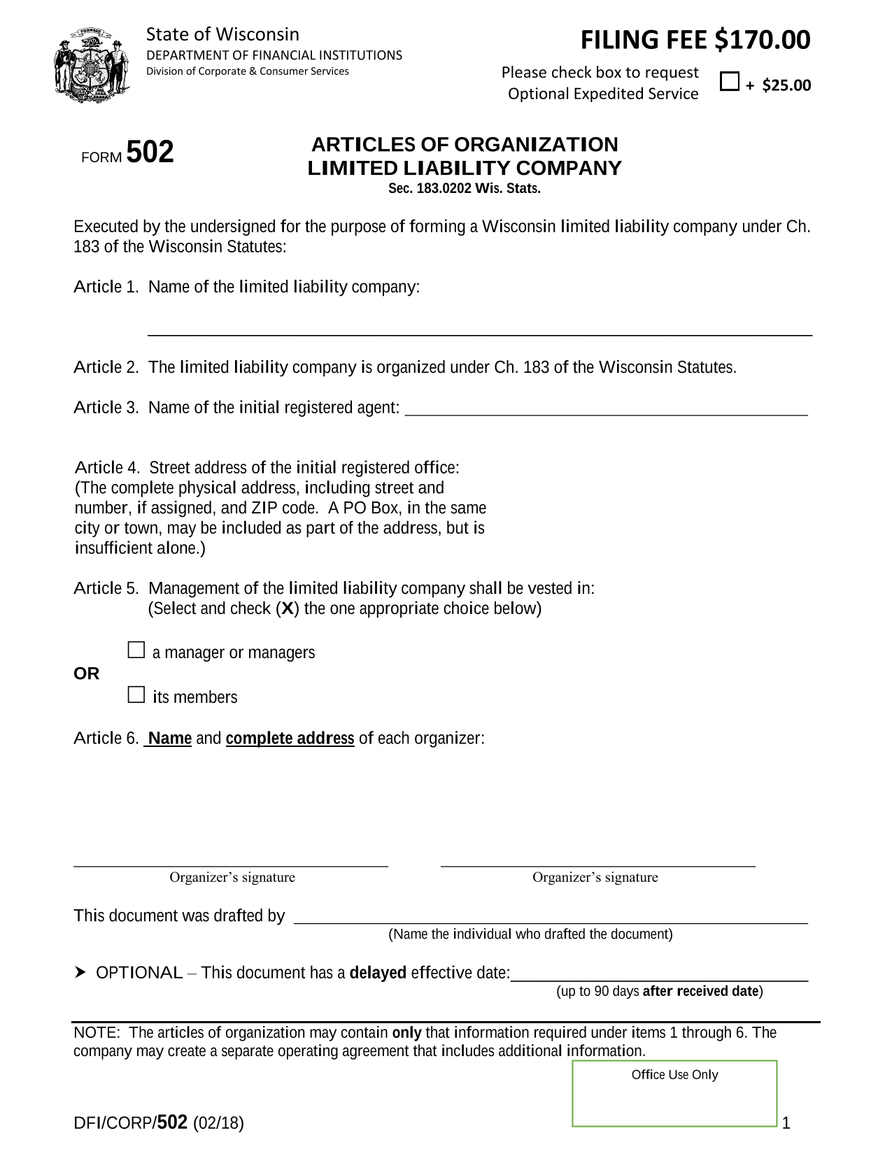 Wisconsin LLC Articles of Organization