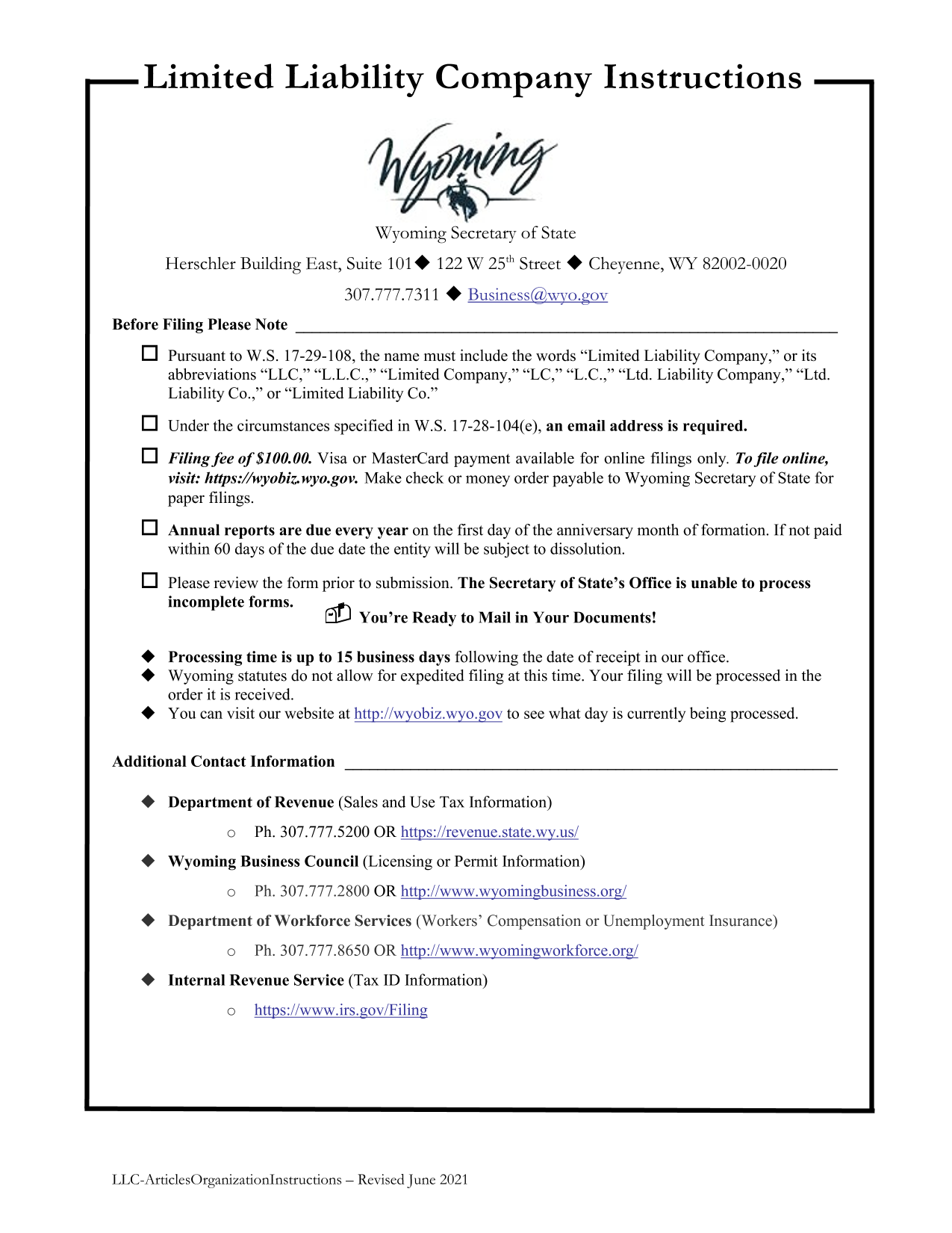 Wyoming LLC Articles of Organization